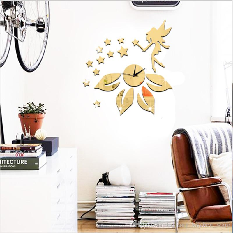 Acrylic 3D mirror wall stickers clock Creative Home Decor DIY fairy star flower Carved bedroom Removable Decoration Stickers 2017 wholesale