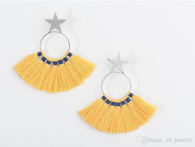 Handmade Bohemia Retro Style Long Tassel Earrings Star Fan Shape Tassel Earrings Women Girls Delicate Handcraft Jewelry Gift