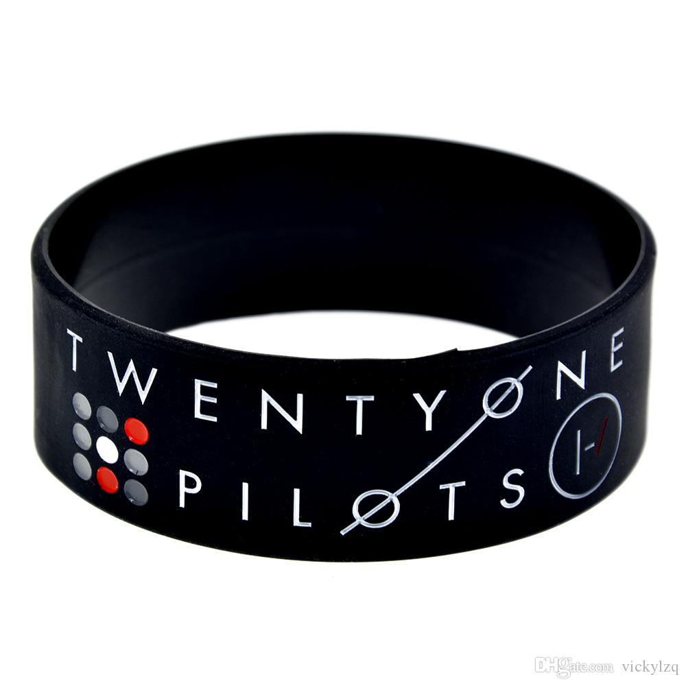 Twenty One Pilots Silicone Wristband 1 Inch Wide Bracelet Great To Used In Any Benefits Gift For Music Fans