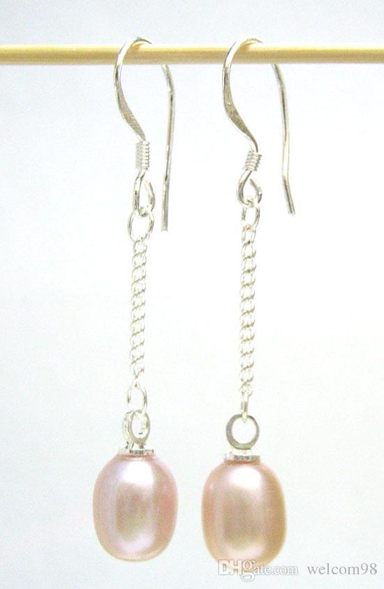 10 par / partia Moda Pearl Kolczyki Silver Hook Urok Dla DIY Prezent Craft Biżuteria Purpurowy UC1