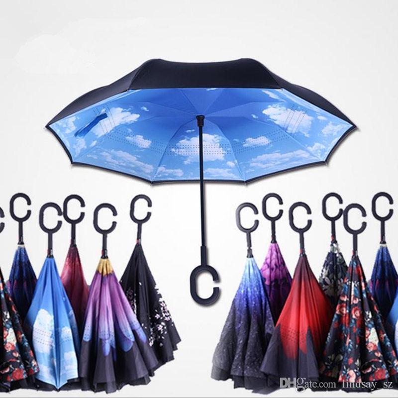 2017 Творческий Перевернутый Зонты Двойной Слой С C Ручкой Наизнанку Обратный Ветрозащитный Зонтик быстрая доставка