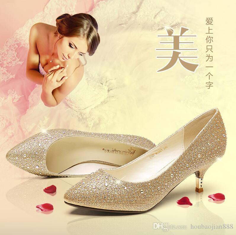 In The Low Heel Shoes Diamond Documentary Golden Wedding Female Bride Autumn Red High Heeled Silver Glass Slipper Womens Fashion