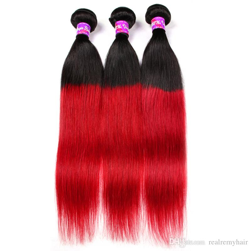 Brazilian Ombre Straight Human Hair 3 Bundles Colored Brazilian 1B/Red Hair Weave Cheap Two Tone Brazilian Red Virgin Hair Deals