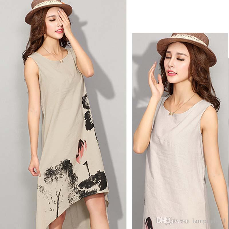 c2fa9771094 Latest Dresses Design For Ladies Cotton Linen Dress Lady O Neck Cotton Linen  Mujer 2017 New Fashion Party Dresses Robe White Formal Dresses Short Prom  Dress ...