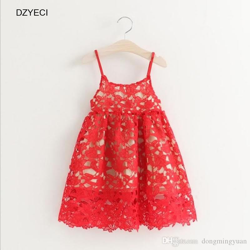 677e1c452ea0 Summer Cure Toddler Kids Baby Girls Lace Dresses Fashion Children Sleeveless  Sling Hollow Flower Beach Princess Frock Costume 0-4 Year Baby Girl Hollow  Lace ...