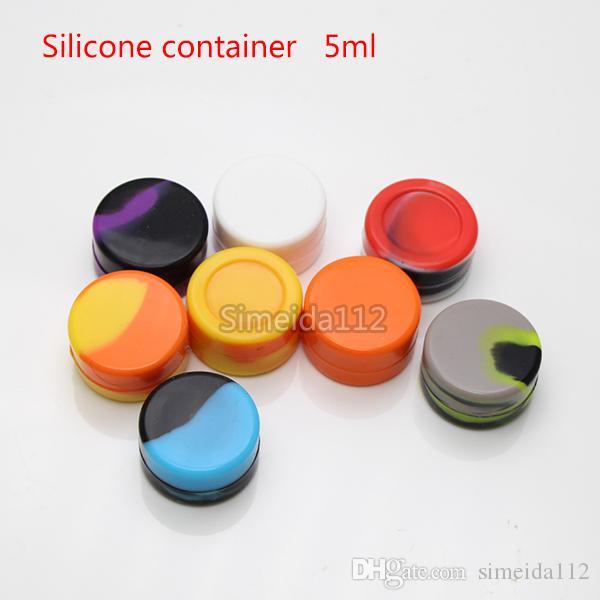 Hohe qualität silikonbehälter 5 ml 7 ml antihaft wachsbehälter lebensmittelqualität gläser tupfen werkzeug lagerung glas öl halter