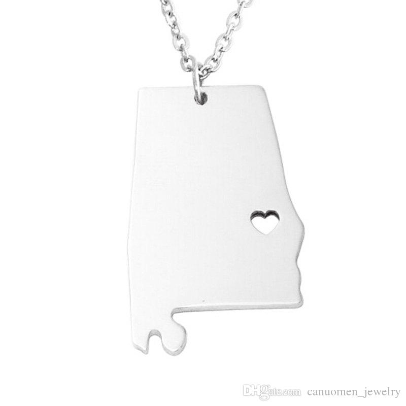 Alabama Map Stainless Steel Pendant Necklace with Love Heart USA States AL Geography Map Necklaces Jewelry for Women and Men