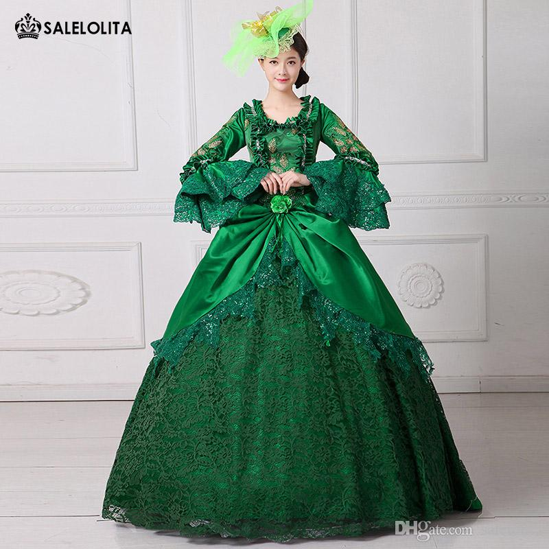2017 New Renaissance Fair Royal Green Elizabeth Ball Gown Marie Antoinette Medeival Period Dress ...