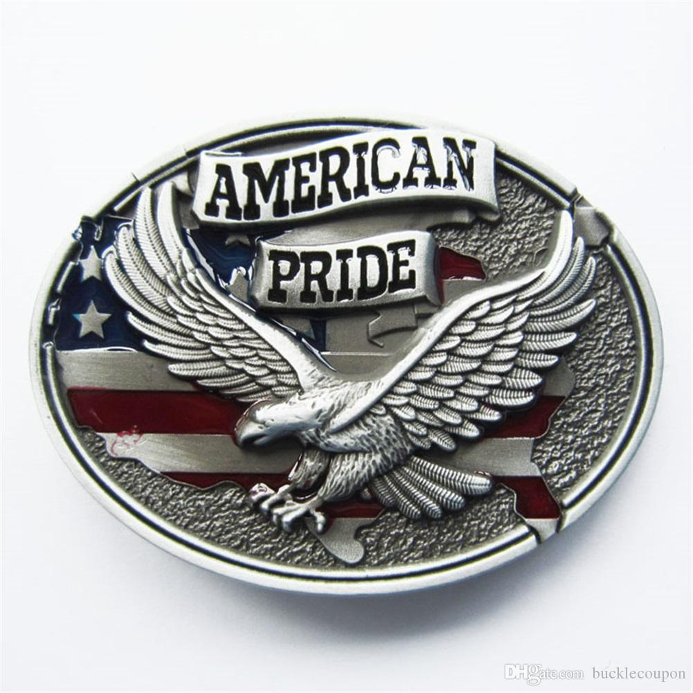 New Enamel Western American Pride Eagle Vintage Flag Oval Belt ... 0c262d38d4d