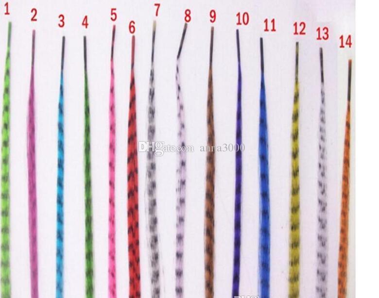 Красочные 10000 шт. / лот длина 16 дюймов 40 см 14 цветов синтетические доступные Гризли петля перо наращивание волос шиньон