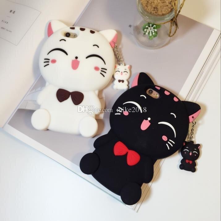 Netter Kasten-Bogen-Kasten des Silikon-3D für iphoneX 8 8plus Fall für iphone 5 SE 6 6S plus 7 7plus Karikatur-Tier-reizende Gummi-Telefon-Kasten-rückseitige Abdeckung