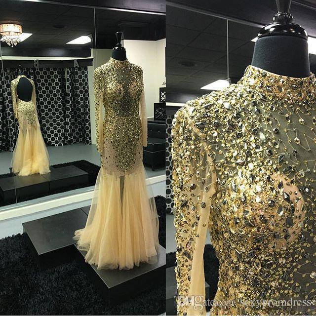 Bling Bling con cuentas de cuello alto Vestidos de baile de oro Tul ver a través de mangas largas transparentes Sirena vestidos de noche piso de espalda abierta Vestidos de fiesta