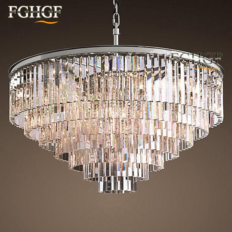 Factory Outlet Modern Vintage RH Chandelier Crystal Pendant Hanging Light for Home Restaurant Decoration Large Round Chandelier Ceiling Lamp