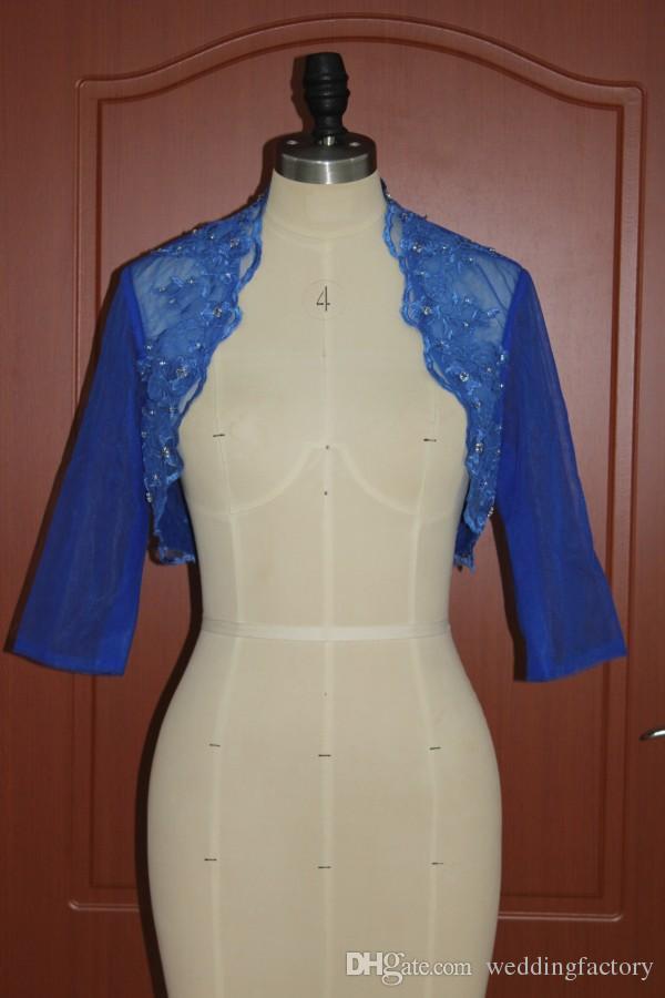 Utsökt Royal Blue Wedding Jackor Real Pictures Anpassade färger Beaded Lace Appliques Evening Party Boleros Half Sleeves