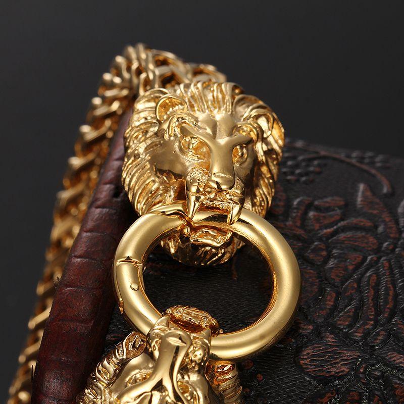 Cadeaux pour hommes biker acier stainelss double bracelet en chaîne en or figaro loup / lion / tête de mort tête fermoir Bracelet jonc