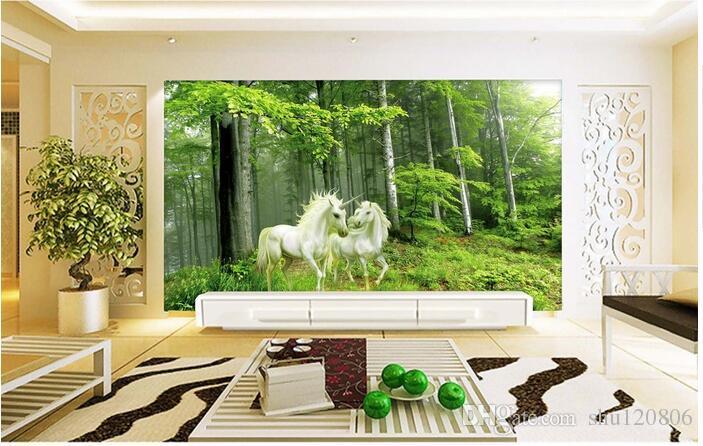 3d carta da parati camera foto su ordinazione murale Foresta Guardiano Unicorn camera immagine pittura decorazione della carta 3d murales parete le pareti 3 d