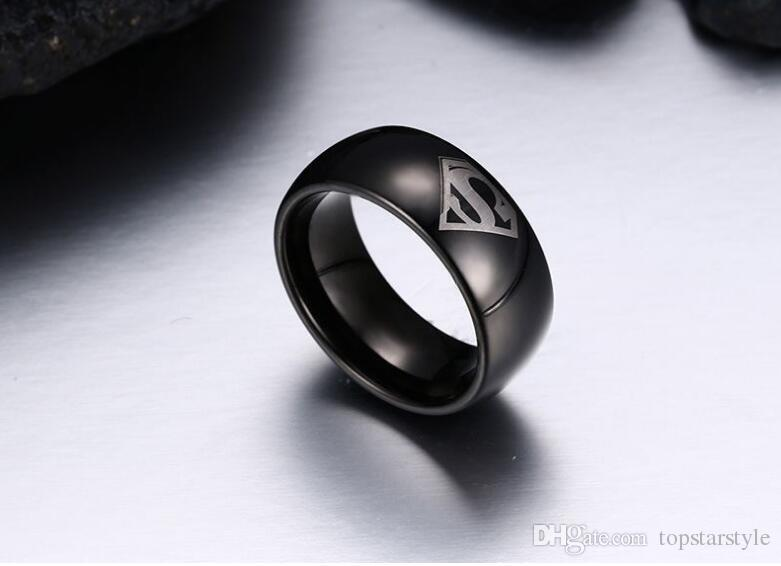 Super Man Symbol Engraved Domed Black Tungsten Ring wholesales 8mm Tungsten Carbide Band
