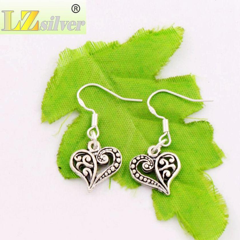Meia Flor Brincos de Coração de Prata 925 Gancho Da Orelha Dos Peixes 40 pares / lote Lustre de Prata Tibetano E919 13.2x31.5mm