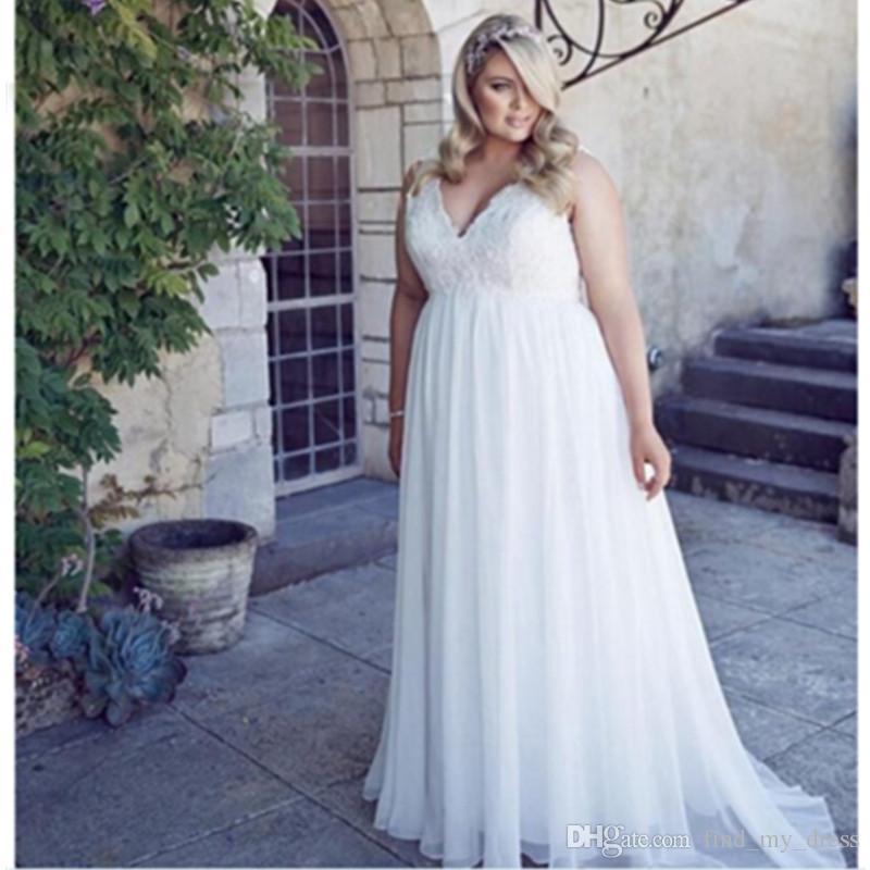 Plus Size A Line Brautkleid New Chiffon Castle Princess Open Back Sommer Moderne Spitze Brautkleider Nach Maß Appliques V-Ausschnitt