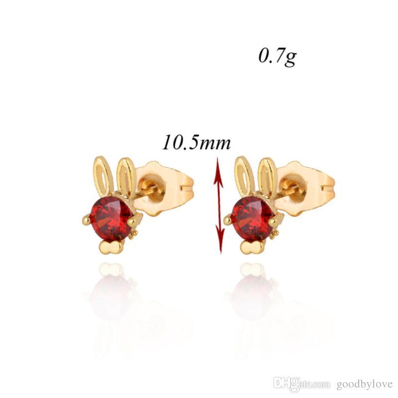 Anti-Allergic Kids Jewelry Yellow Gold Plated Green/Red/White Big Cubic Zirconia CZ Cute Rabbit Stud Earrings Children Girls