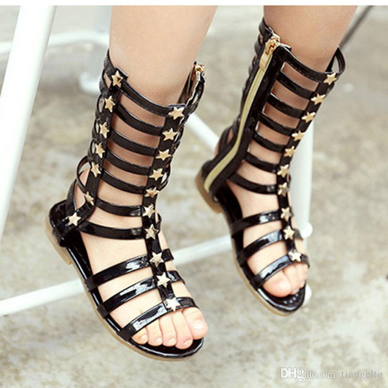 467db1f821f Girls Roman Sandals Gladiator High Barrel Shinning Upper With Stars Flat  Outsole Punk Mid Calf Footwear LG F280 Toddlers Shoes Baby Girl Shoes From  ...