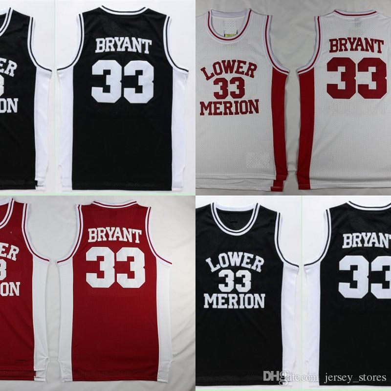 a88a436f753 ... promo code 2017 cheap kobe bryant lower merion high school basketball  jersey 33 team red white