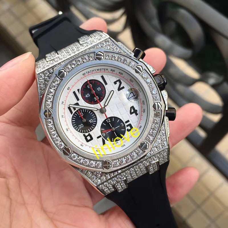 Grosshandel Rubber Strap Luxus Icedout Diamanten Rose Gold Uhr Herren