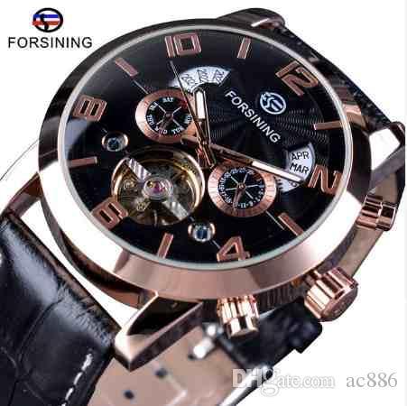 cf0f41434ec Compre Forsining 5 Mãos Tourbillion Moda Mostrador De Onda Design Multi  Função Display Homens Relógios Top Marca De Luxo Relógio Automático Relógio  Relógio ...