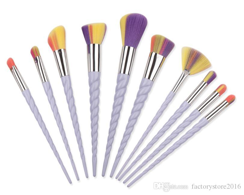 2017 Hot 10 Unids Mango Blanco Pinceles de Maquillaje Set Pro Oval Eyebrow Foundation Powder Eyeshadow Colorful Make Up Brush Kit