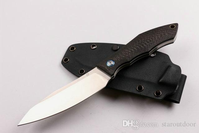 New Russia Bear D2 Fixed Blade Knife Carbon Fiber Handle 60HRC Tactical Camping Hunting Survival Pocket Knife with K Sheath EDC Collection