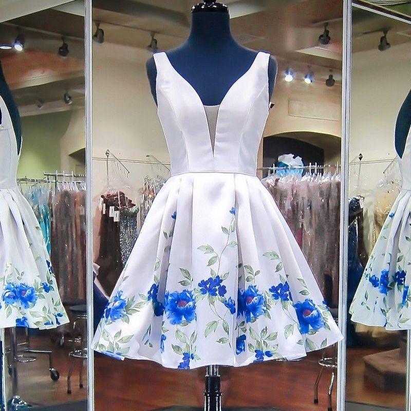 Little White Short Prom Dresses Blue Sage Floral Print Satin Simle