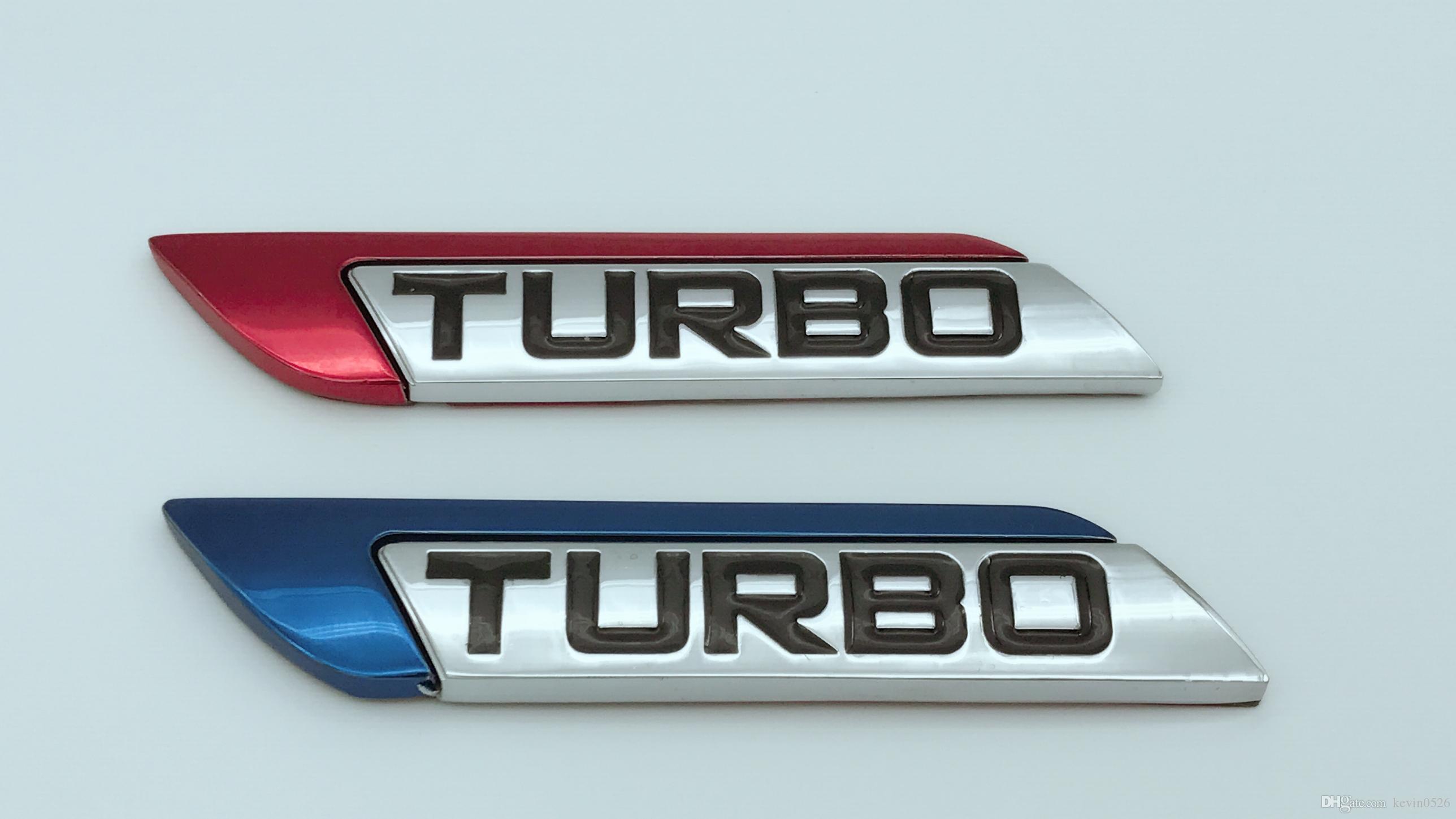 Novo Vermelho / Azul Turbo Logotipo 3D Metal Car Auto SUV Corpo Fender Emblema Emblema Decalque Adesivo