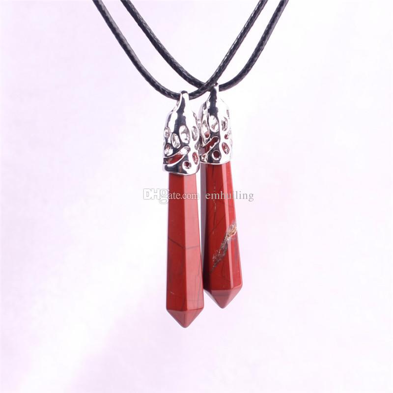 Attraente Natural Amulet Red Jasper Root Chakra Stone Collana a pendente in pietra preziosa, il Sangue della Terra, energia e vitalità