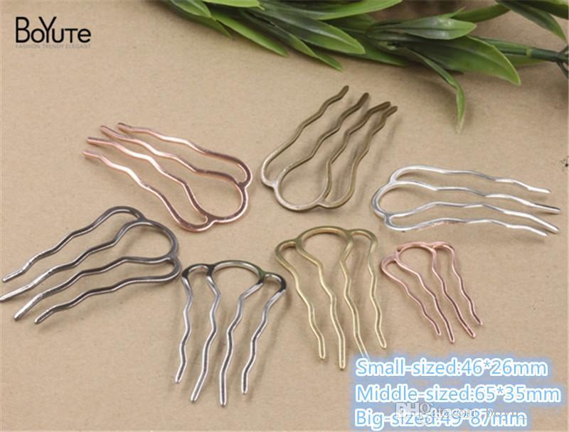 BOYUTE Copper Metal Hair Comb Wholesale Classic Vintage Hair Jewelry Diy Hair Accessories