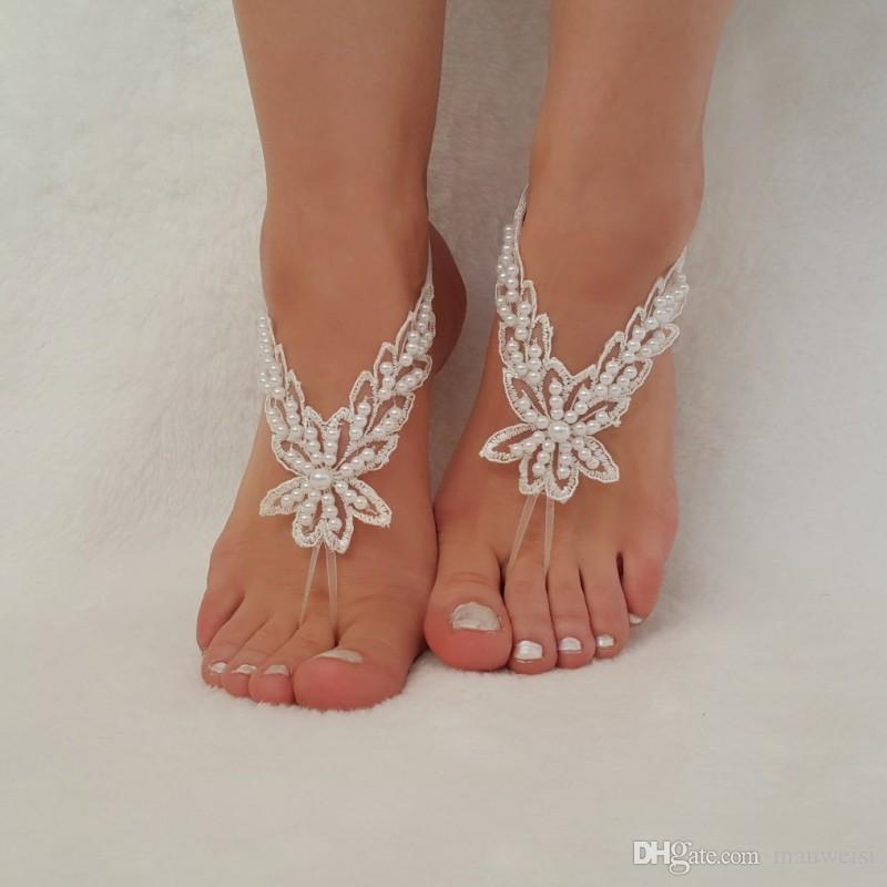 Cheap Lace Beach Wedding Barefoot Sandals 2017 Buttefly Pearls Anklet Chain Custom Made Bridal Bridesmaid Jewelry Foot