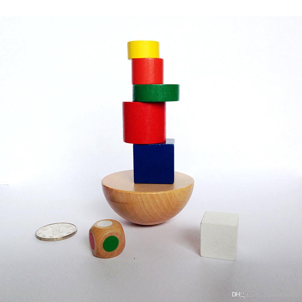 Crianças Brinquedos Blocos Geométricos De Madeira Crianças Equilíbrio Treinamento Jogo Montessori Inteligente Educacional EarlyToy Crianças Família Blocos de Jogo