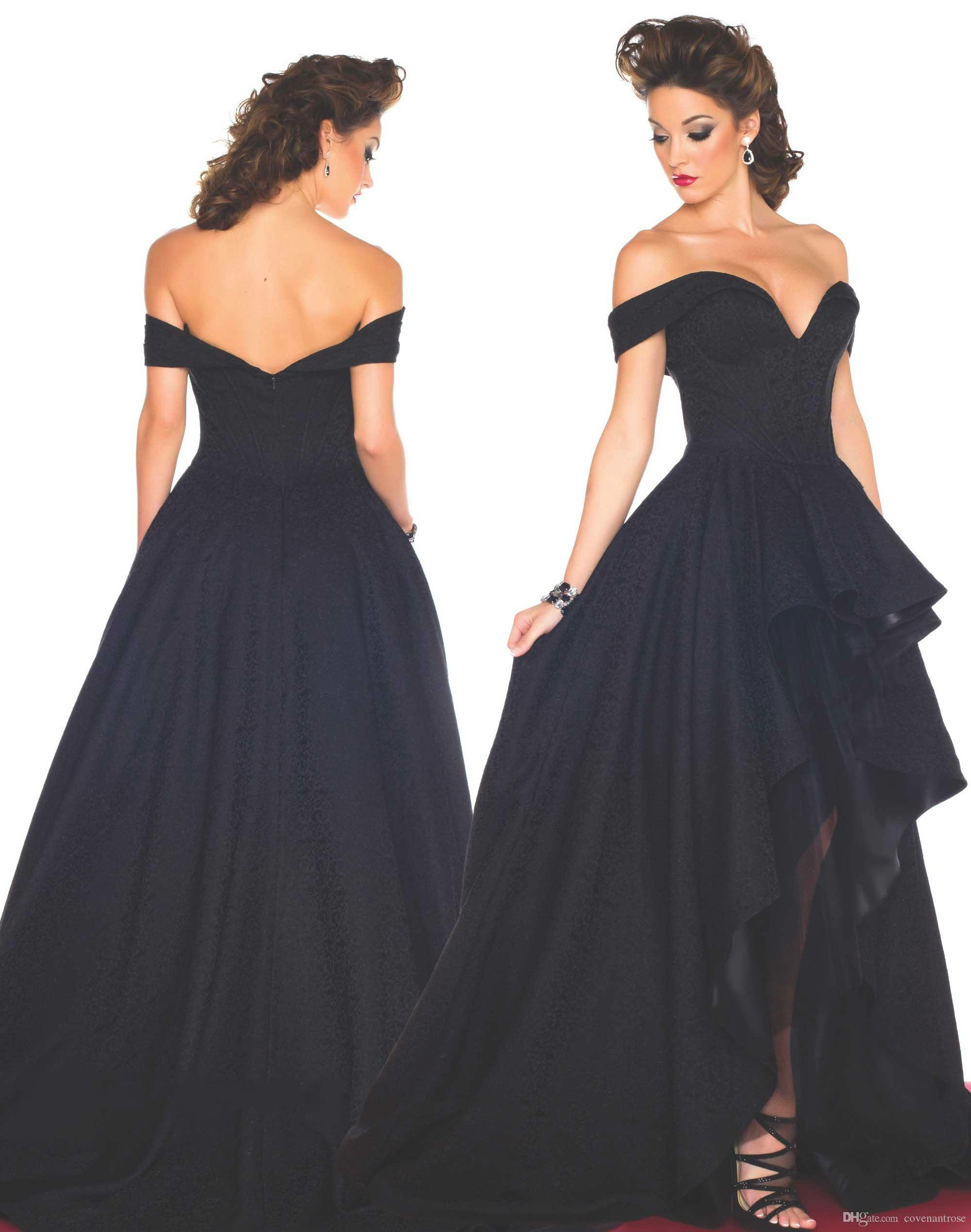 Navy Blue High Low Prom Dresses Off Shoulder Backless Sexy ...