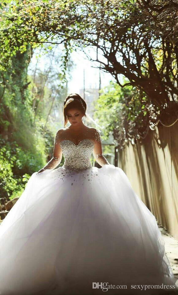 럭셔리 크리스탈 골치 아픈 건 가운 웨딩 드레스 2017 겸손 얇은 목 환상 긴 소매 얇은 명주 그물 레이스 백리스 브라 가운