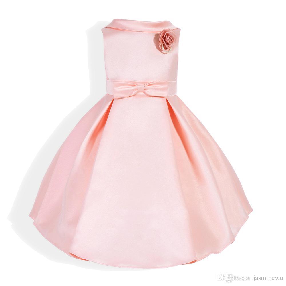 Großhandel Mädchen Volle Kleider Rosa Ärmellose Prinzessin Kleid ...