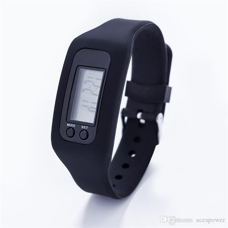 Podómetro digital de LED multi elegante reloj de silicona Ejecutar Paso poca distancia de contador de calorías de la pulsera de reloj electrónico podómetros coloridas