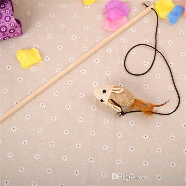 Wooden Pole Hemp Mice Mouse Tease Cats Rods Plaything Environmental Fashion Wood High Quality Pet Toys DHL