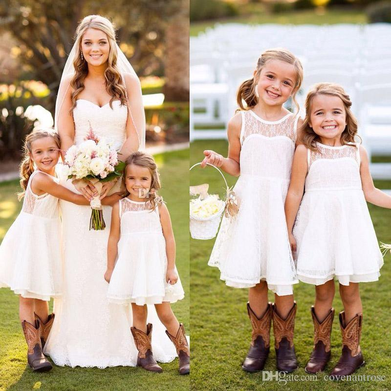 ec3b31736 Pretty Short Lace Flower Girls Dresses For Weddings Knee Length Summer  Garden Beach Kids Skirt Country First Communion Dresses For Girls Latest Girls  Dress ...