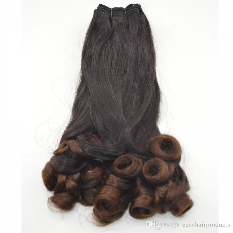 Ombre Cheveux 3 Pièces Tante Funmi Cheveux Malaisien Funmi Bouclés Armure 1B / 30 Deux Extensions de Cheveux Humains G-EASY