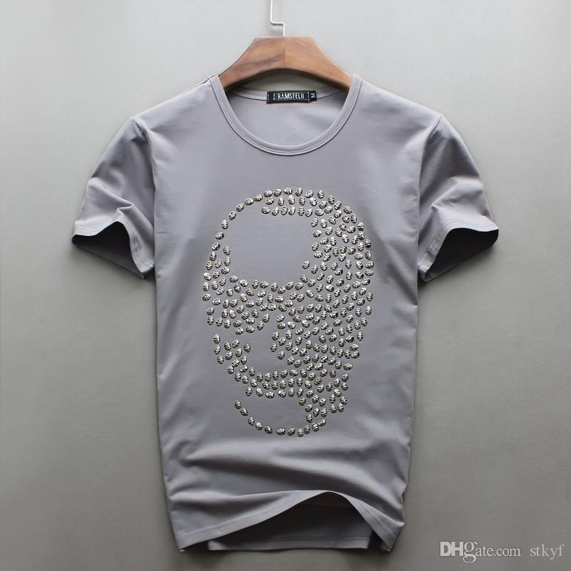 En gros Vente Chaude Vente O-cou Hommes De Luxe Diamant Conception crâne T-shirt De Mode T-shirts Drôle Marque Coton Tops Et T-shirts 2017