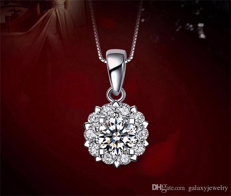 YHAMNI De Luxe 925 Sterling En Argent Pendentif Collier Top Qualité CZ Diamant Pour Les Femmes De Mariage Collier Argent Fine Jewelry N021