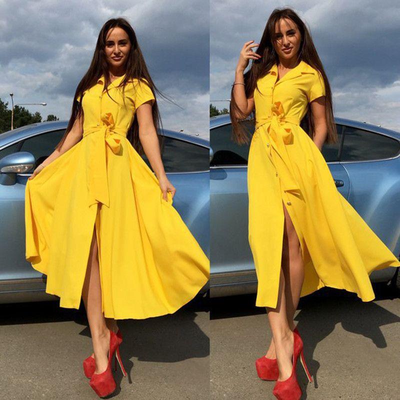 2017 manica lunga di estate donne Gira-giù del colletto della camicia a maniche corte abito da signora casuale Dress i