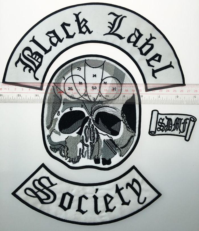 Commercio all'ingrosso eccellente indietro set etichetta nera società ferro ricamato patch biker giacca pilota maglia patch ferro su qualsiasi indumento modello G0220