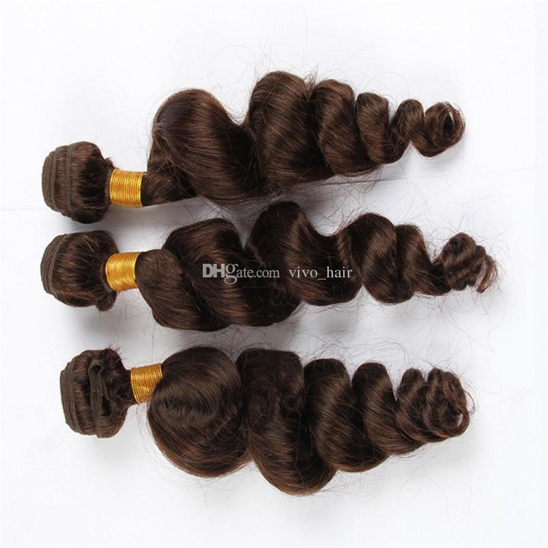 Cheap Chestnut Brown Loose Wave Virgin Hair 3 Bundles Color #4 Medium Brown Malaysian Human Hair Weaves Extensions