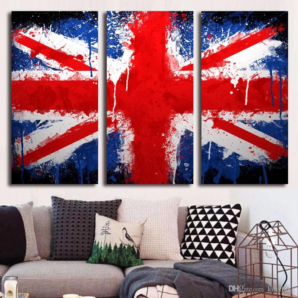 Framed HD Printed United Kingdom Flag Picture Wall Art Canvas Print Decor Poster Canvas Oil Painting