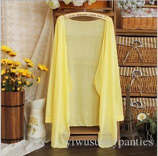 Kadın şeker renk Yaz Güneş koruma Gömlek uzun kollu şeffaf tasarım klima hırka Temel anti-uv giyim